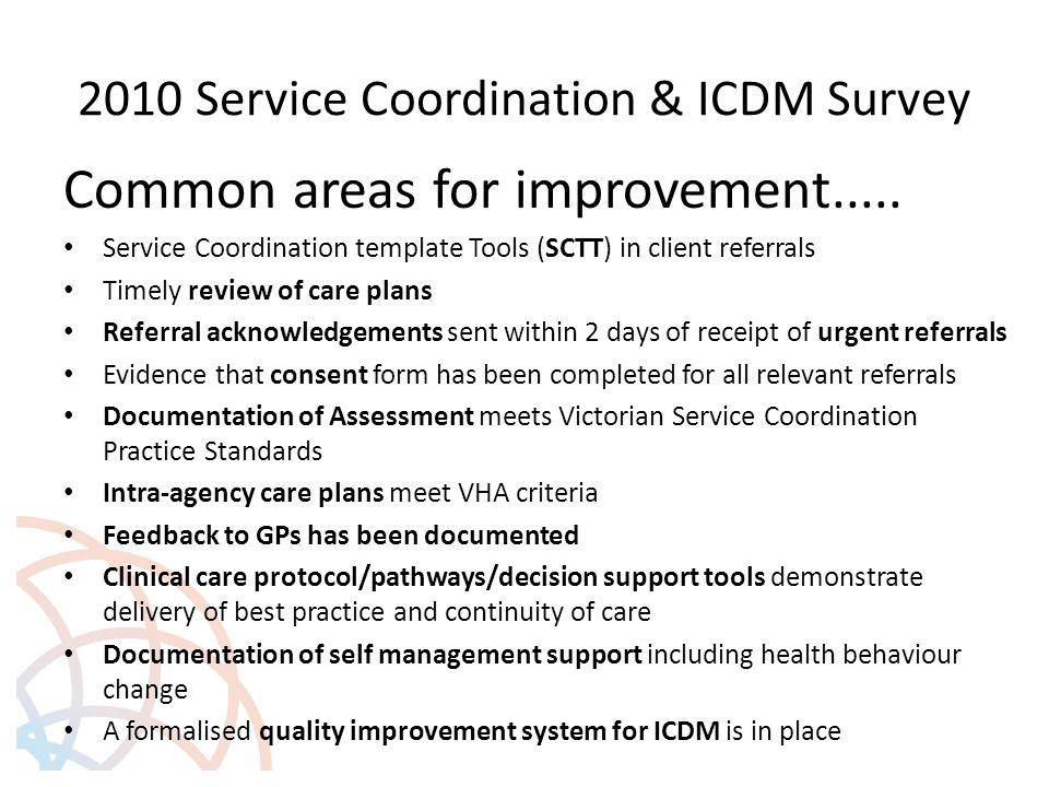 2010 Service Coordination & ICDM Survey Common areas for improvement.....