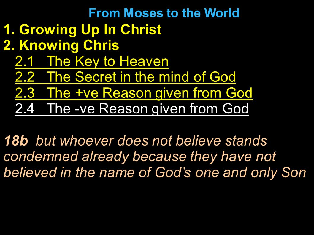 1. Growing Up In Christ 2. Knowing Chris 1.2.1 The Key to Heaven 2.2.2 The Secret in the mind of God 3.2.3 The +ve Reason given from God 4.2.4 The -ve
