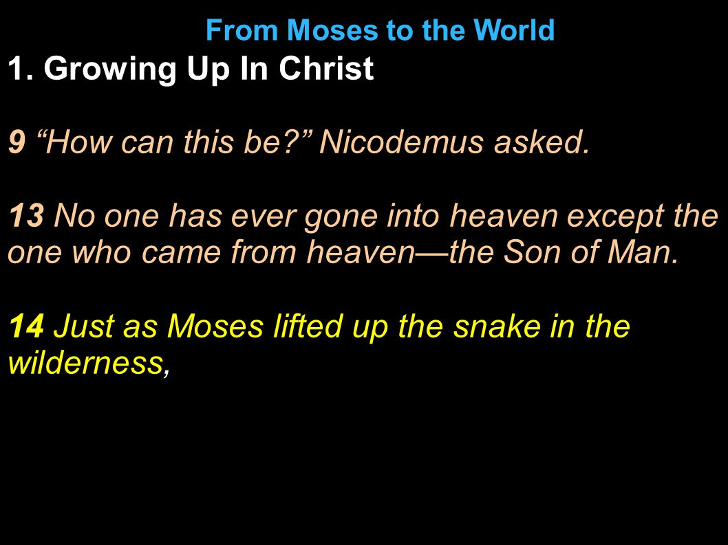 1. Growing Up In Christ 9 How can this be Nicodemus asked.