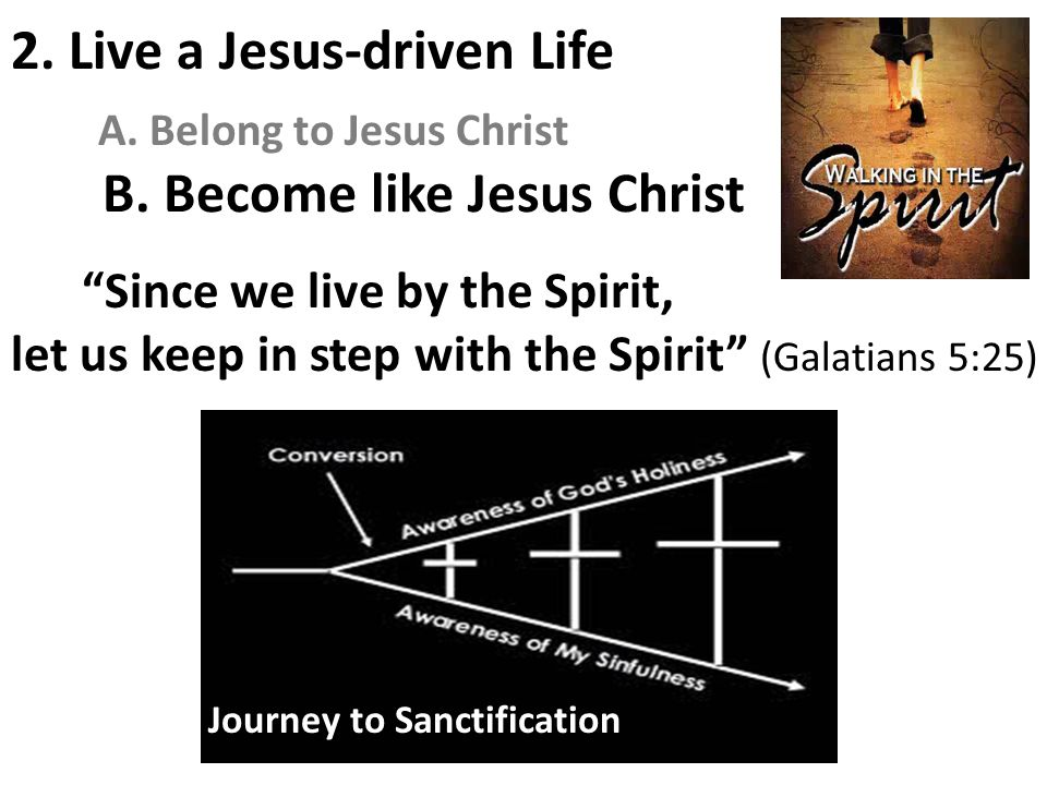 """B. Become like Jesus Christ """"Since we live by the Spirit, let us keep in step with the Spirit"""" (Galatians 5:25) 2. Live a Jesus-driven Life A. Belong"""