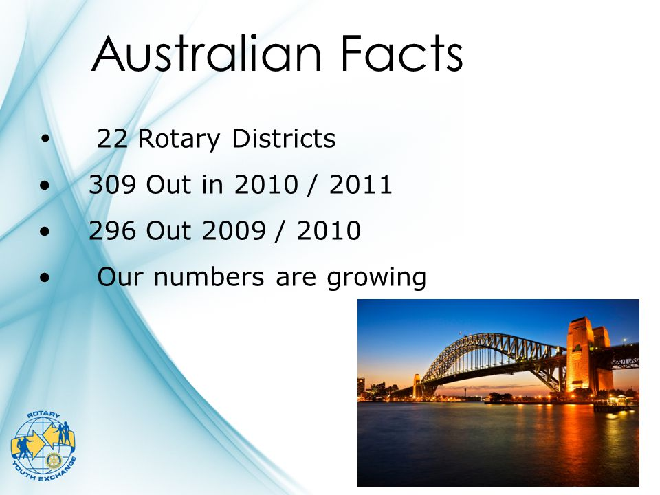 22 Rotary Districts 309 Out in 2010 / 2011 296 Out 2009 / 2010 Our numbers are growing Australian Facts