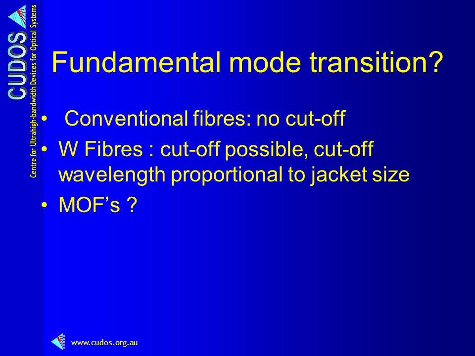 www.cudos.org.au Fundamental mode transition.