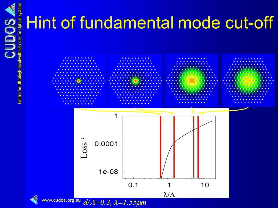 www.cudos.org.au Hint of fundamental mode cut-off d/  =0.3,  m Loss