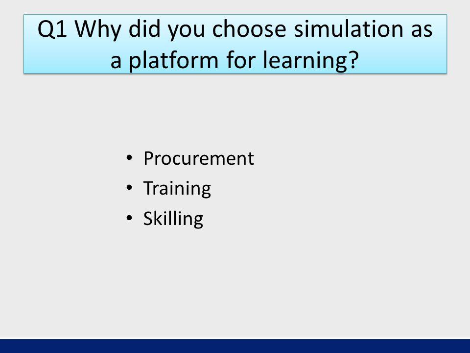 Q1 Why did you choose simulation as a platform for learning Procurement Training Skilling