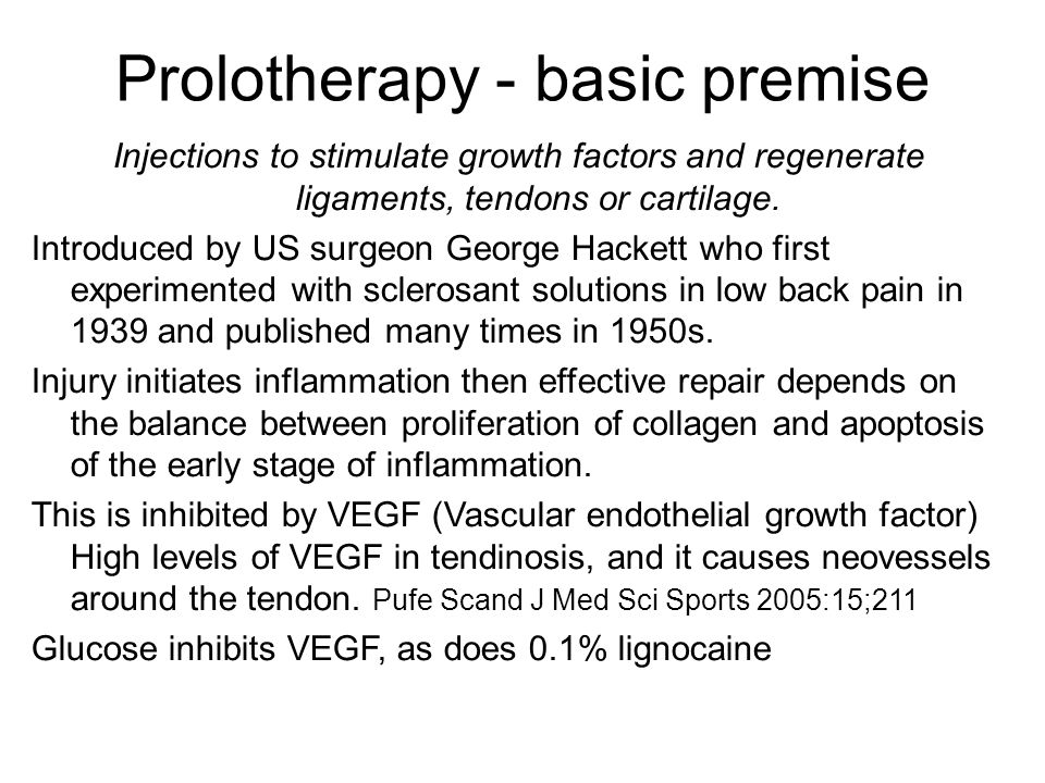 Prolotherapy - basic premise Injections to stimulate growth factors and regenerate ligaments, tendons or cartilage. Introduced by US surgeon George Ha