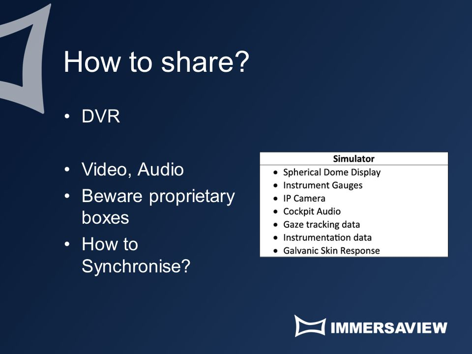 How to share? DVR Video, Audio Beware proprietary boxes How to Synchronise?