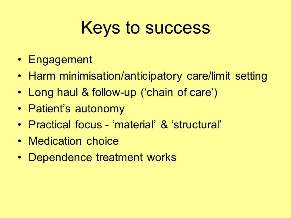 Keys to success Engagement Harm minimisation/anticipatory care/limit setting Long haul & follow-up ('chain of care') Patient's autonomy Practical focu