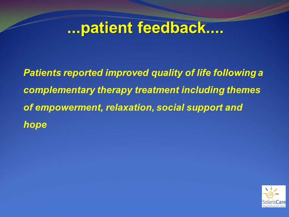 ...patient feedback....