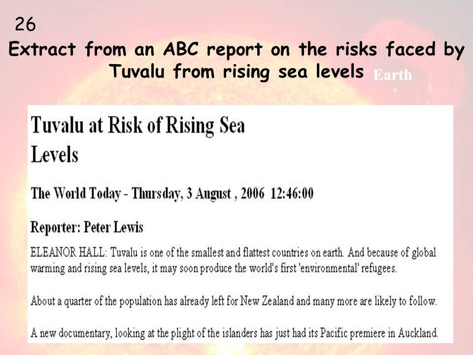 Extract from an ABC report on the risks faced by Tuvalu from rising sea levels 26