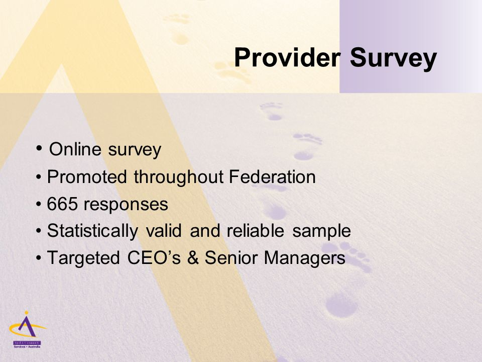 Provider Survey Online survey Promoted throughout Federation 665 responses Statistically valid and reliable sample Targeted CEO's & Senior Managers