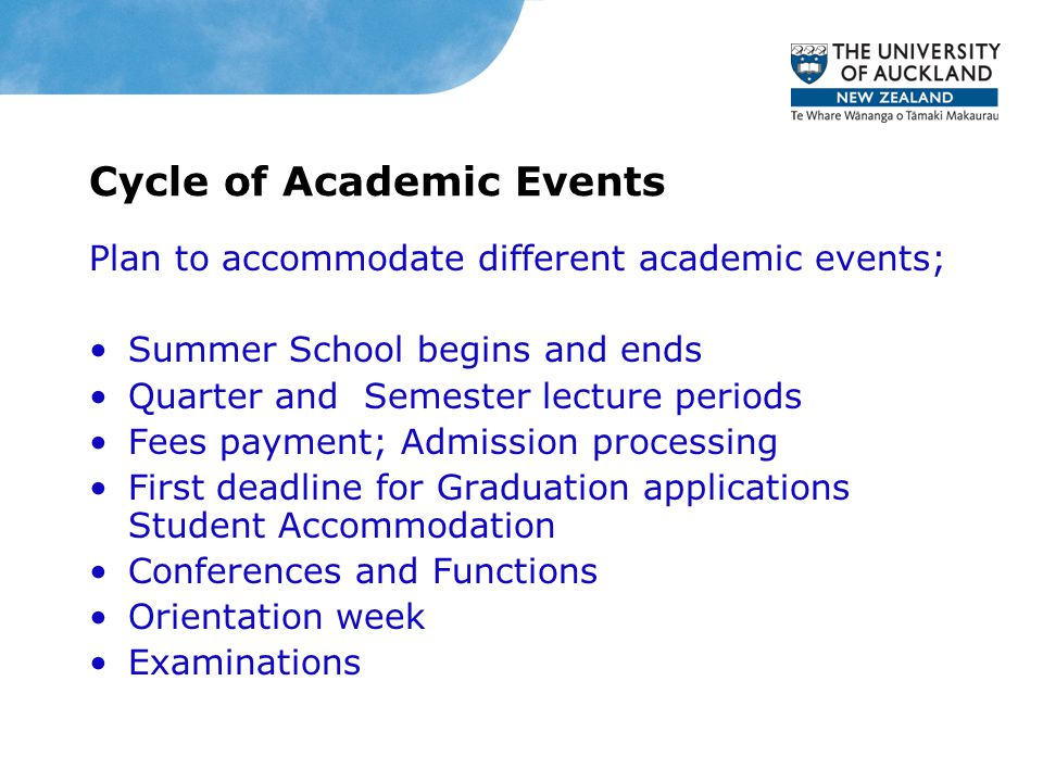 Cycle of Academic Events Plan to accommodate different academic events; Summer School begins and ends Quarter and Semester lecture periods Fees paymen