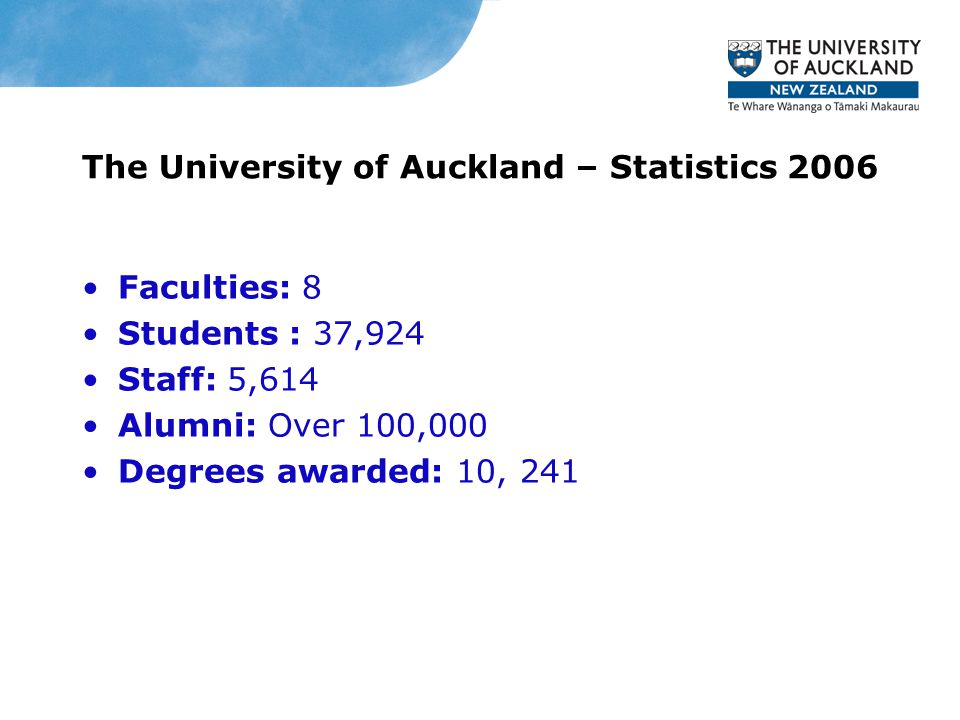 The University of Auckland – Statistics 2006 Faculties: 8 Students : 37,924 Staff: 5,614 Alumni: Over 100,000 Degrees awarded: 10, 241