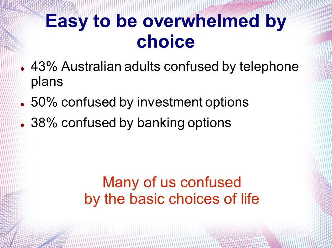 Easy to be overwhelmed by choice 43% Australian adults confused by telephone plans 50% confused by investment options 38% confused by banking options