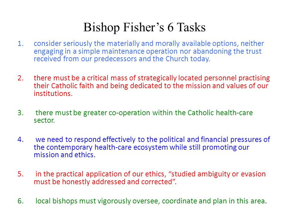 Bishop Fisher's 6 Tasks 1.consider seriously the materially and morally available options, neither engaging in a simple maintenance operation nor abandoning the trust received from our predecessors and the Church today.