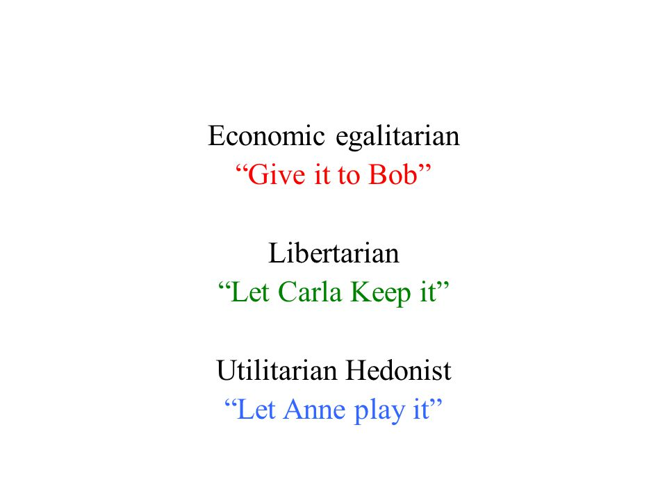 "Economic egalitarian ""Give it to Bob"" Libertarian ""Let Carla Keep it"" Utilitarian Hedonist ""Let Anne play it"""
