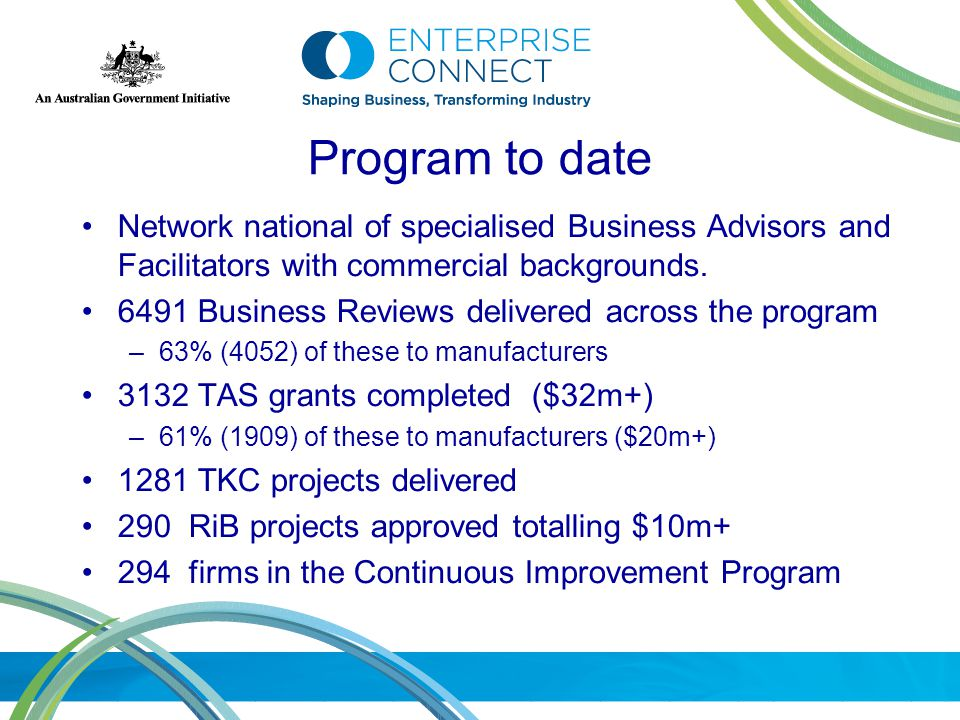 Program to date Network national of specialised Business Advisors and Facilitators with commercial backgrounds.
