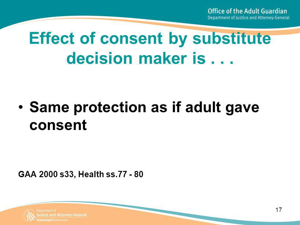 17 Effect of consent by substitute decision maker is...