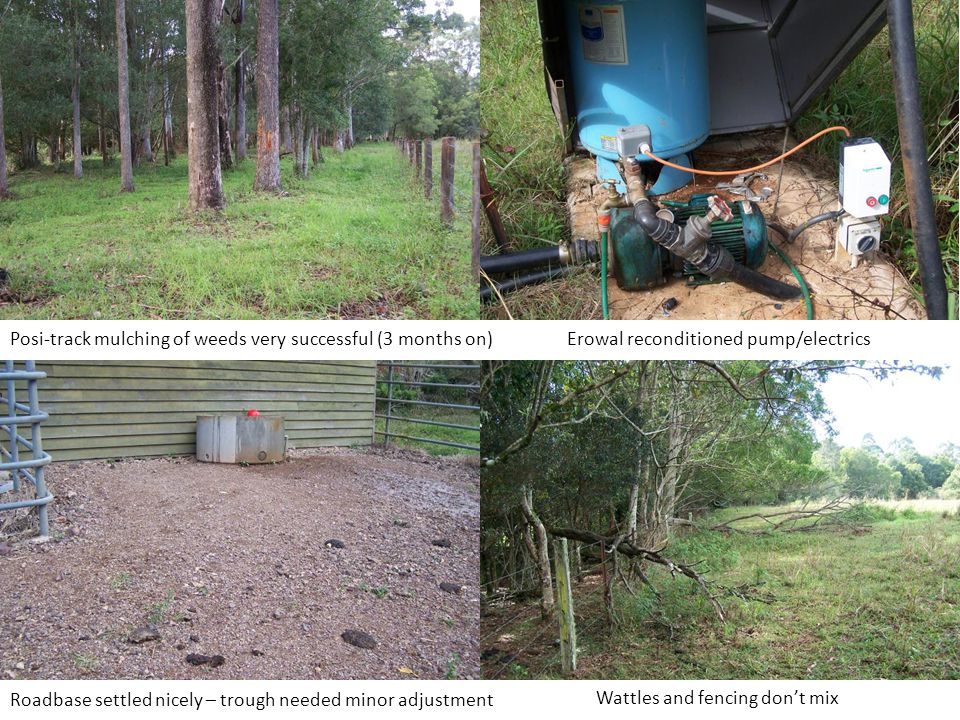 Posi-track mulching of weeds very successful (3 months on)Erowal reconditioned pump/electrics Roadbase settled nicely – trough needed minor adjustment Wattles and fencing don't mix