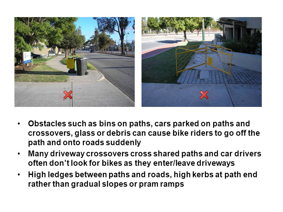 Difficult crossing points at busy intersections with narrow median strips between traffic (not wide enough for bike to fit) Waiting time at traffic lights too long and cars often do not give way to bike riders on pedestrian phases No place for bikes – either on road or on paths Car drivers speeding and overtaking bike riders too close or when it is not safe