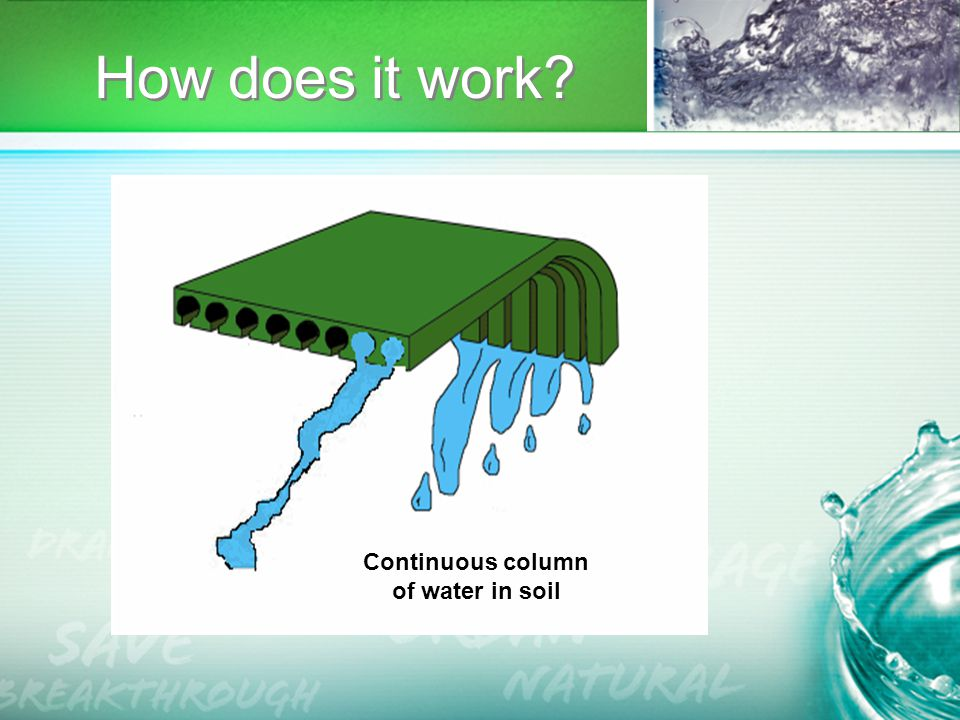 Continuous column of water in soil How does it work