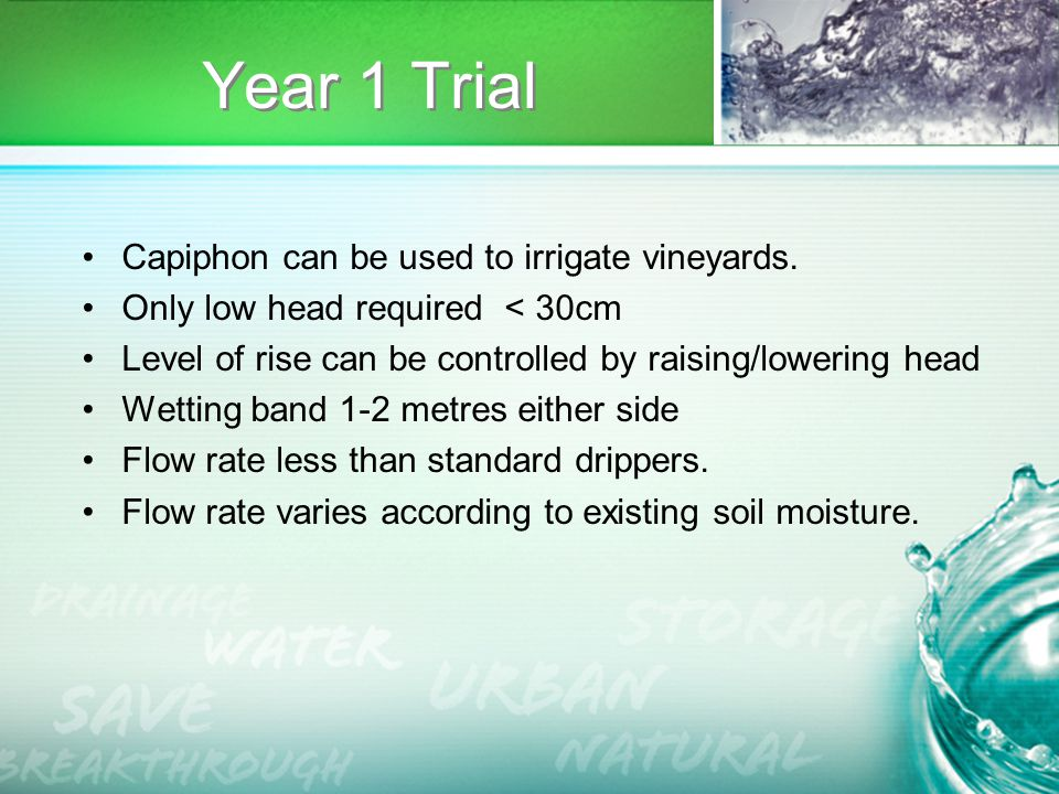 Year 1 Trial Capiphon can be used to irrigate vineyards.