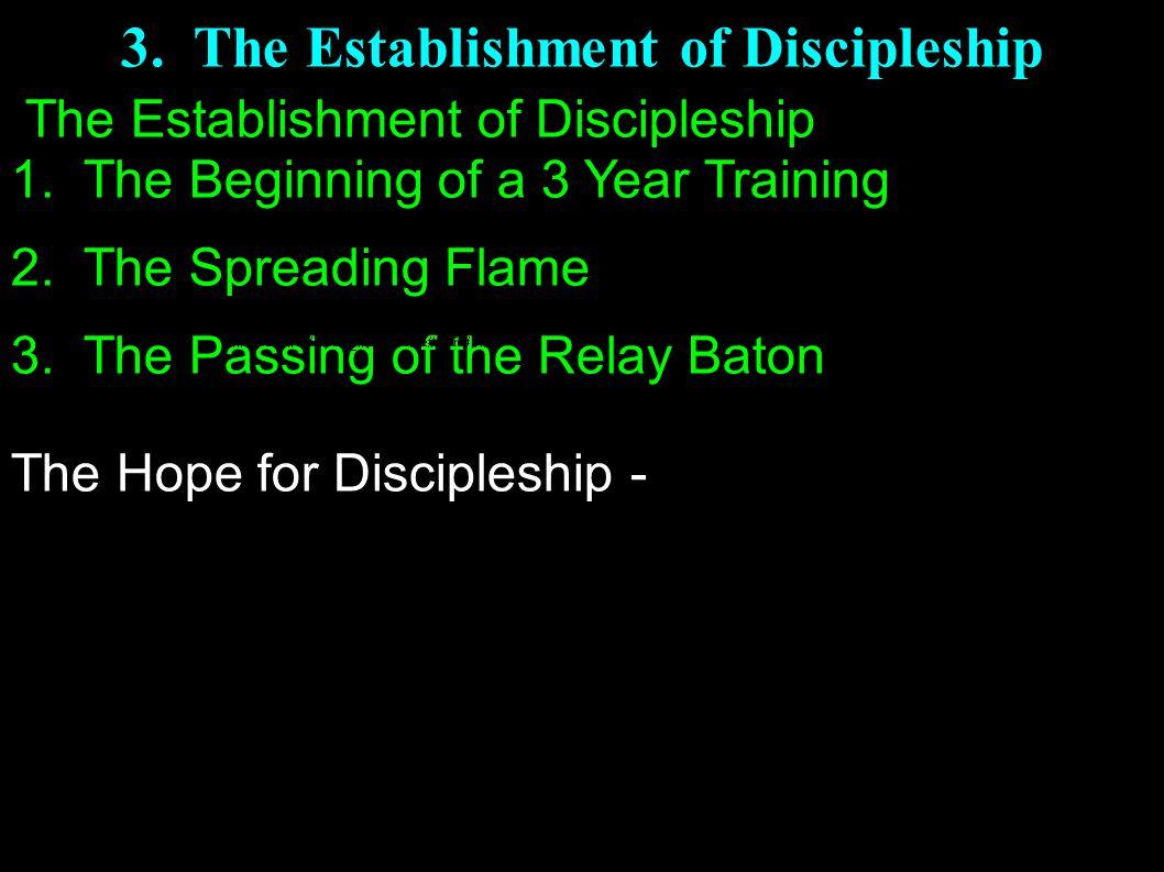 3.The Establishment of Discipleship The Establishment of Discipleship 1.