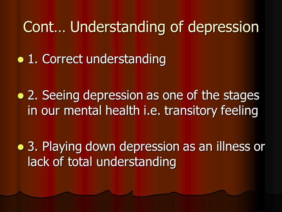 Cont… Understanding of depression 1. Correct understanding 1.