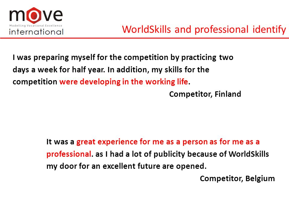WorldSkills and professional identify I was preparing myself for the competition by practicing two days a week for half year.
