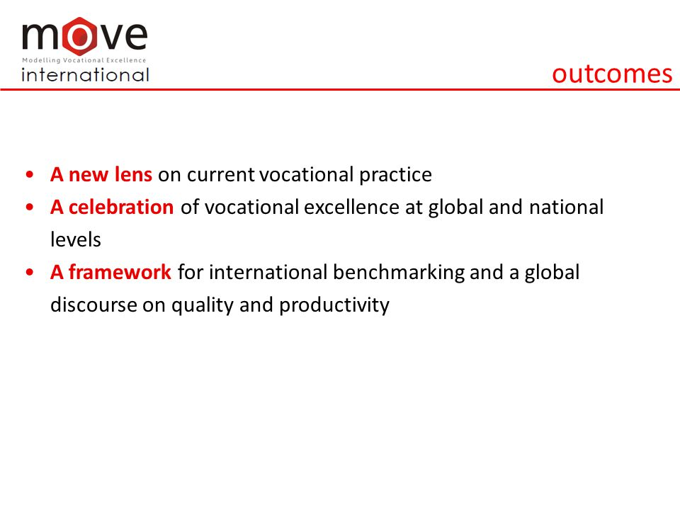 outcomes A new lens on current vocational practice A celebration of vocational excellence at global and national levels A framework for international benchmarking and a global discourse on quality and productivity