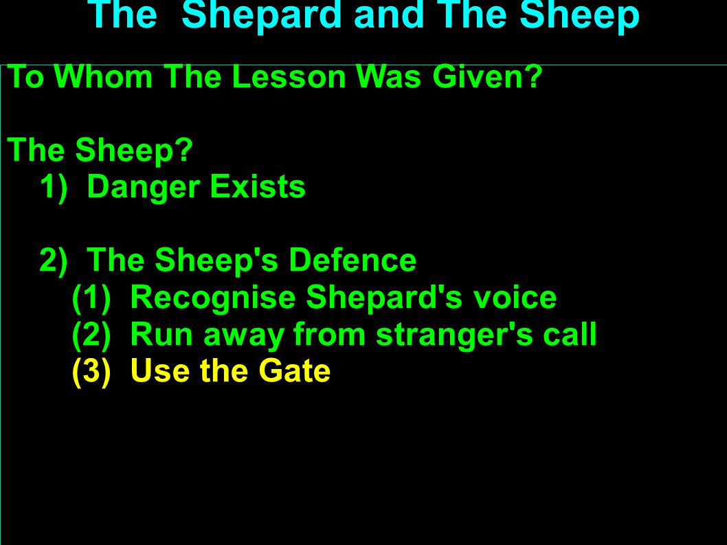 To Whom The Lesson Was Given. The Sheep.