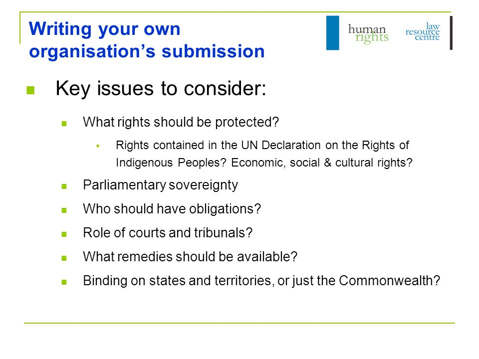 Writing your own organisation's submission Key issues to consider: What rights should be protected.