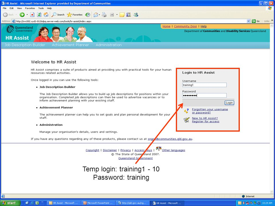 Temp login: training Password: training