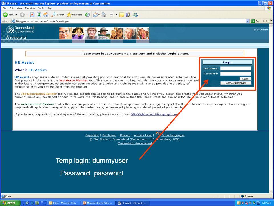 Temp login: dummyuser Password: password