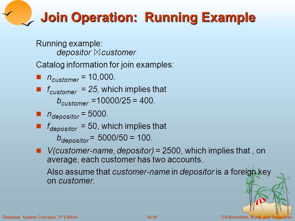 ©Silberschatz, Korth and Sudarshan14.14Database System Concepts 3 rd Edition Join Operation: Running Example Running example: depositor customer Catalog information for join examples: n customer = 10,000.
