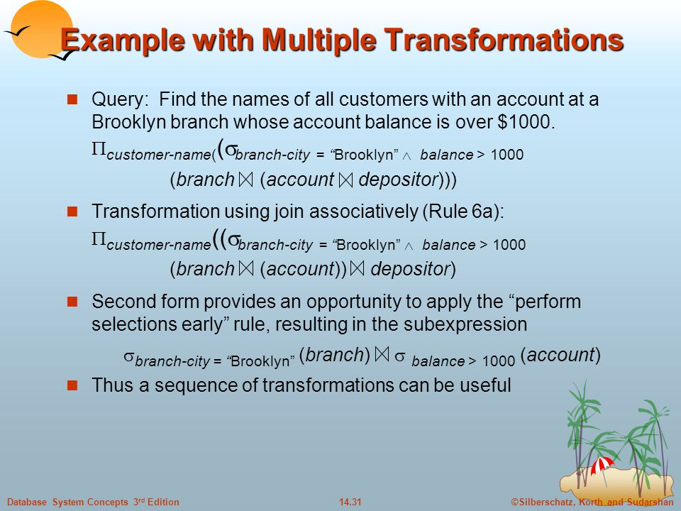 ©Silberschatz, Korth and Sudarshan14.31Database System Concepts 3 rd Edition Example with Multiple Transformations Query: Find the names of all customers with an account at a Brooklyn branch whose account balance is over $1000.