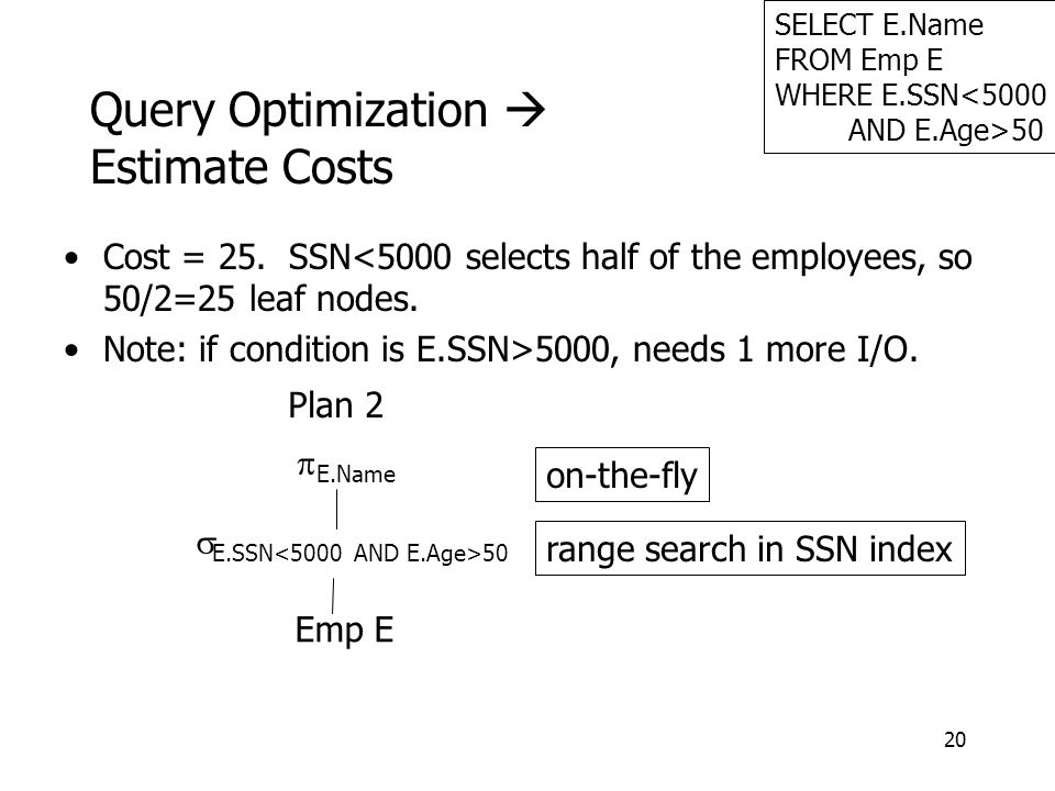 20 Query Optimization  Estimate Costs SELECT E.Name FROM Emp E WHERE E.SSN<5000 AND E.Age>50 Emp E  E.SSN 50  E.Name Plan 2 range search in SSN ind