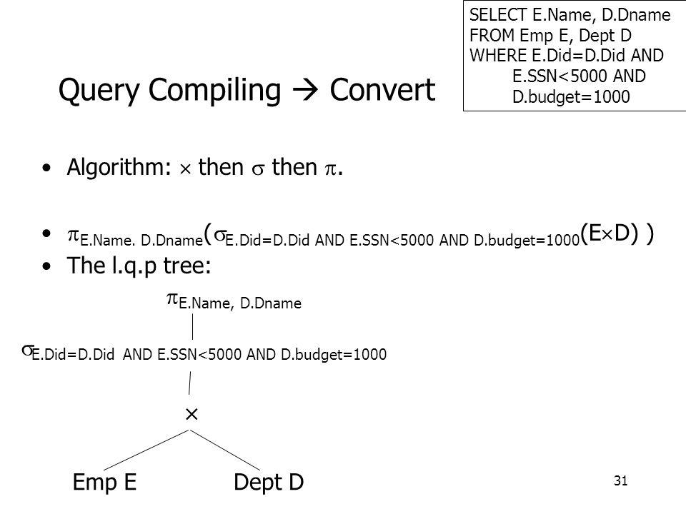 31 Query Compiling  Convert Algorithm:  then  then .