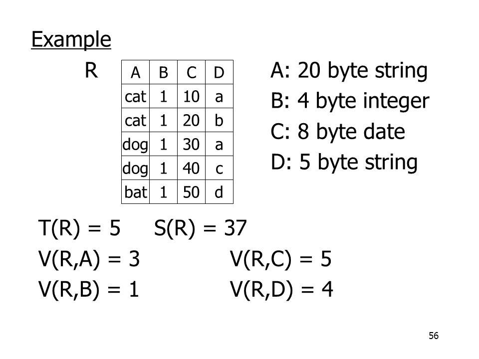 56 Example RA: 20 byte string B: 4 byte integer C: 8 byte date D: 5 byte string ABCD cat110a cat120b dog130a dog140c bat150d T(R) = 5 S(R) = 37 V(R,A) = 3V(R,C) = 5 V(R,B) = 1V(R,D) = 4