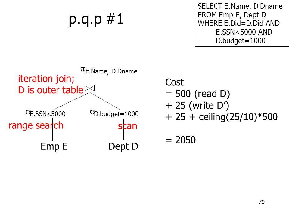 79 SELECT E.Name, D.Dname FROM Emp E, Dept D WHERE E.Did=D.Did AND E.SSN<5000 AND D.budget=1000 p.q.p #1 Emp E  E.SSN<5000  E.Name, D.Dname Dept D 