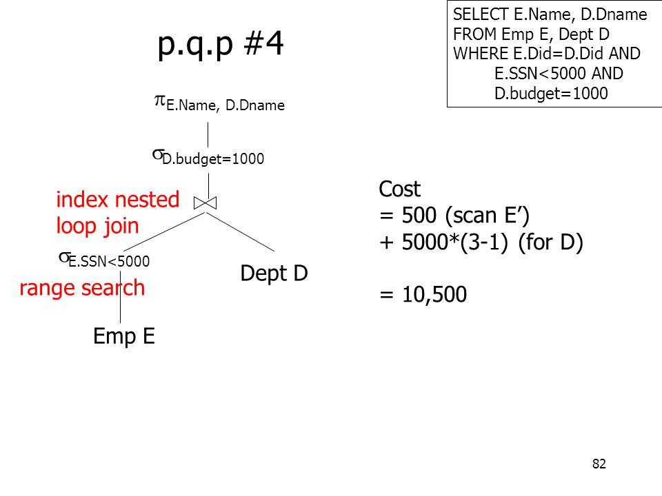 82 SELECT E.Name, D.Dname FROM Emp E, Dept D WHERE E.Did=D.Did AND E.SSN<5000 AND D.budget=1000 p.q.p #4 Emp E  E.SSN<5000  E.Name, D.Dname Dept D 