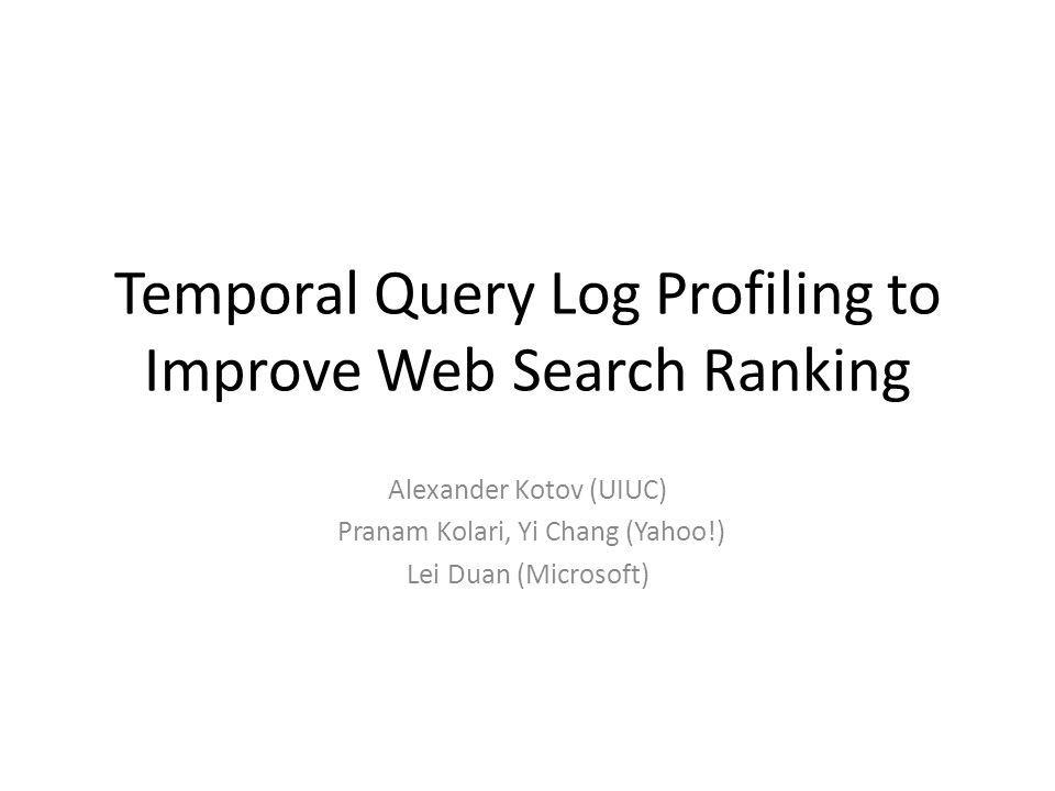 Motivation Improvements in ranking can be achieved in two ways: – Better features/methods for promoting high- quality result pages – Methods for filtering/demotion of adversarial and abusive content Main idea: temporal information can be leveraged to characterize the quality of content.