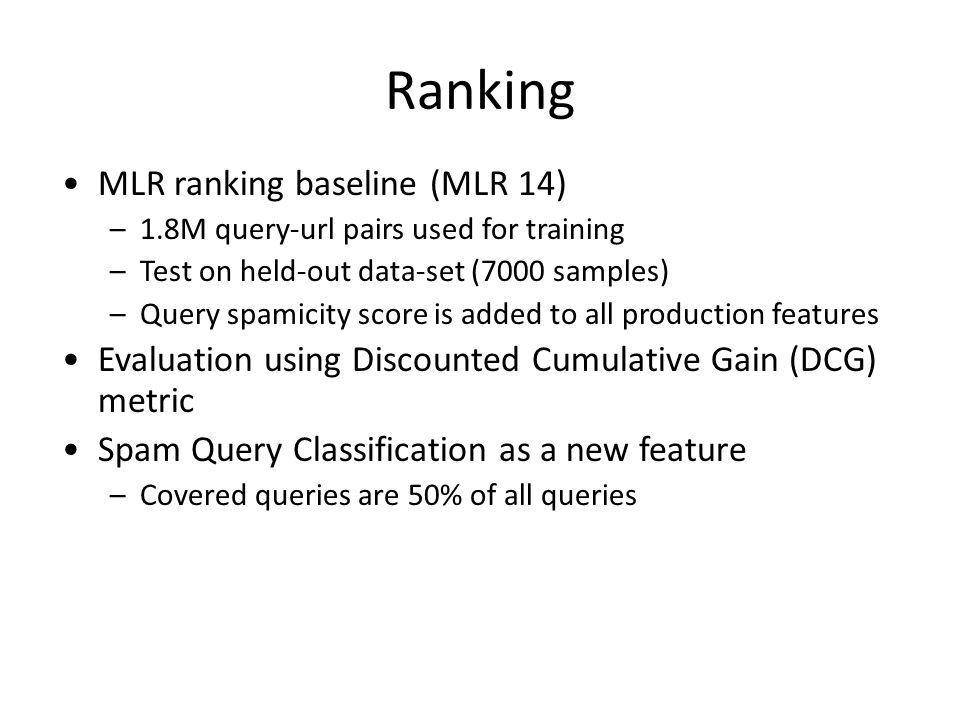 Ranking MLR ranking baseline (MLR 14) –1.8M query-url pairs used for training –Test on held-out data-set (7000 samples) –Query spamicity score is added to all production features Evaluation using Discounted Cumulative Gain (DCG) metric Spam Query Classification as a new feature –Covered queries are 50% of all queries