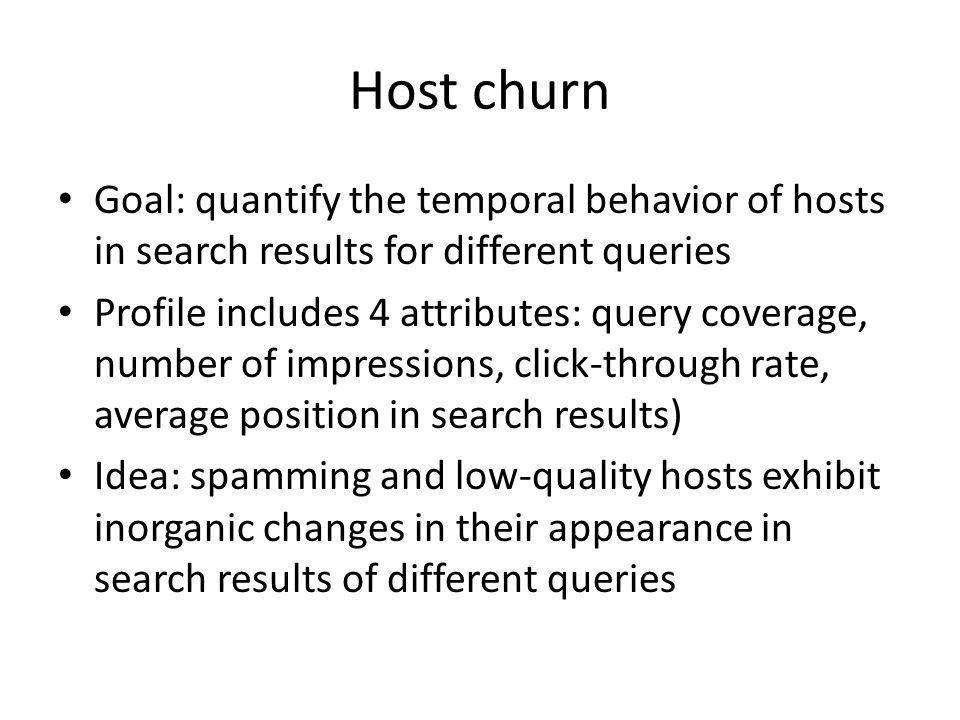 Host churn churn metric
