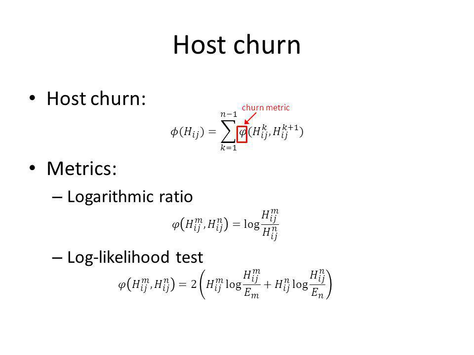 Host churn churn metric