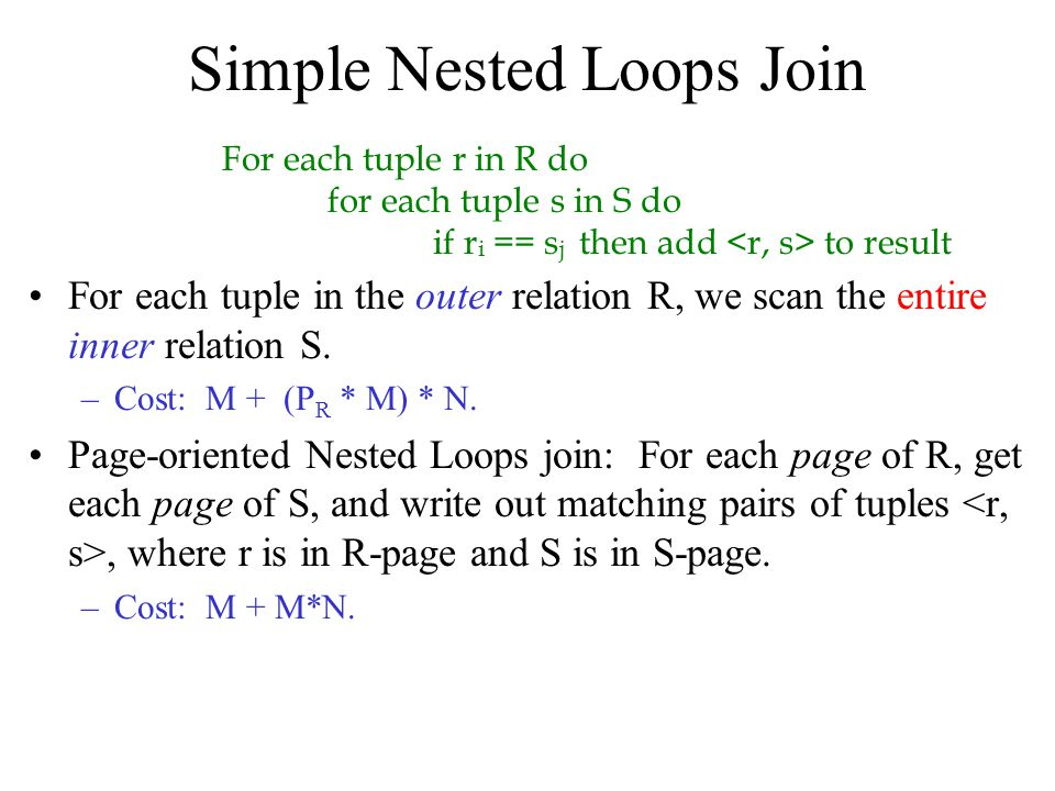 Simple Nested Loops Join For each tuple in the outer relation R, we scan the entire inner relation S. –Cost: M + (P R * M) * N. Page-oriented Nested L