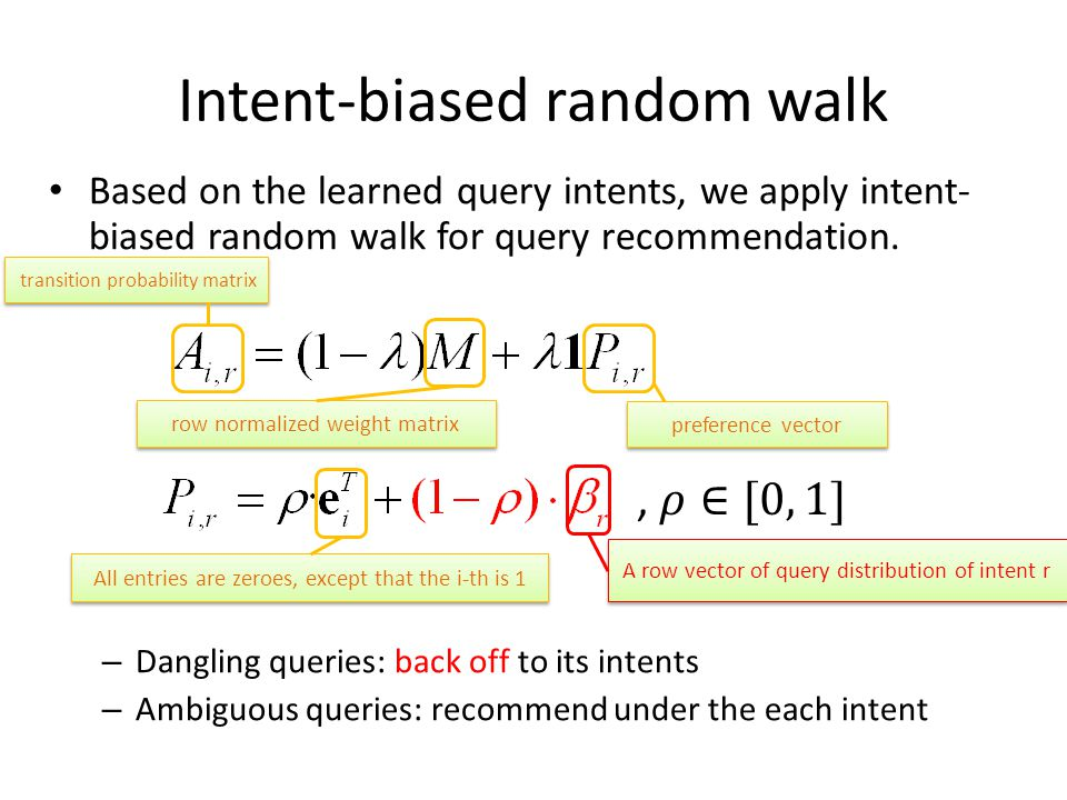 Intent-biased random walk Based on the learned query intents, we apply intent- biased random walk for query recommendation.