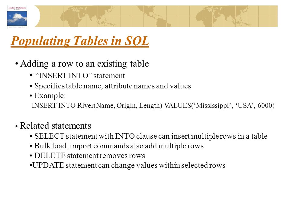 """Populating Tables in SQL Adding a row to an existing table """"INSERT INTO"""" statement Specifies table name, attribute names and values Example: INSERT IN"""