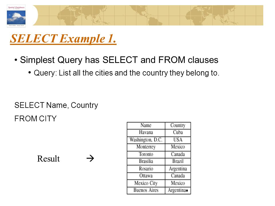 SELECT Example 1. Simplest Query has SELECT and FROM clauses Query: List all the cities and the country they belong to. SELECT Name, Country FROM CITY