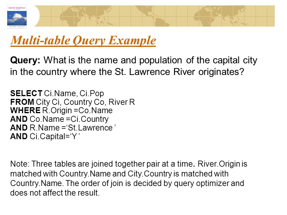 Multi-table Query Example Query: What is the name and population of the capital city in the country where the St. Lawrence River originates? SELECT Ci