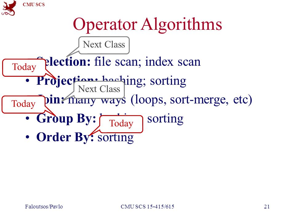 CMU SCS Operator Algorithms Selection: file scan; index scan Projection: hashing; sorting Join: many ways (loops, sort-merge, etc) Group By: hashing; sorting Order By: sorting Faloutsos/PavloCMU SCS 15-415/61521 Today Next Class Today Next Class